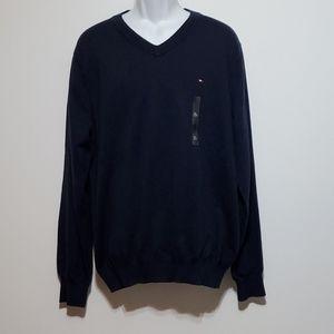 Tommy Hilfiger XL Navy V-Neck Sweater